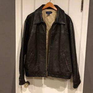 J. Crew Leather Distressed Bomber Jacket